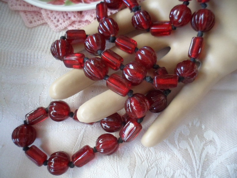 Antique Victorian vintage Burgundy Red Czech glass bead long necklace