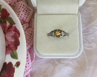 Antique Victorian Vintage Sterling Silver Ring with Citrine Stone Ring Size R