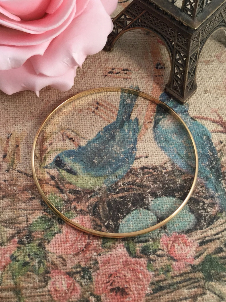 Vintage Jewellery Yellow Gold Bangle Jewelry 8 inches