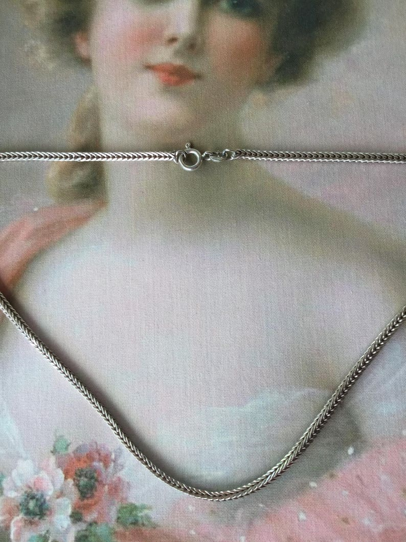 Retro vintage jewellery solid Italian Sterling Silver Necklace Chain 37 cm long stamped 925 ITALY Jewelry