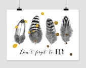 fine-art print Dont forget to FLY poster illustration quote feather bird fly vintage