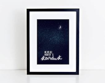 fine-art print poster stardust illustration night sky stars