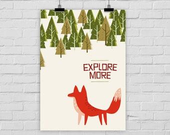 fine-art print poster EXPLORE MORE FOX