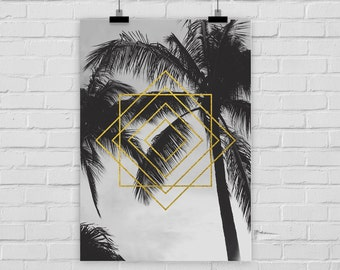fine-art print poster GEO PALM TREES