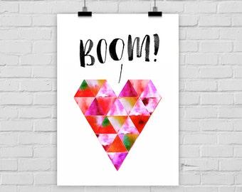 "fine-art print poster ""BOOM!"" geometrical heart watercolors"