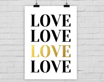 fine-art print LOVE typo fake gold