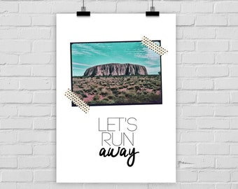 fine-art print poster LET'S RUN AWAY