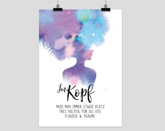 "Prints Eisenherz ""Im Kopf"" Poster Print Aquarell Quote"