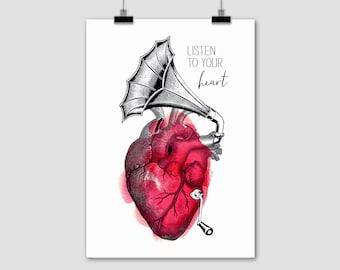 "fine-art print poster ""Listen to your heart"" anatomy prints eisenherz anatomical gramophone vintage"