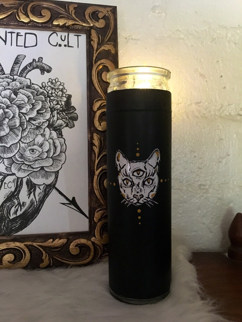 All seeing Tantomile black prayer glass votive candle