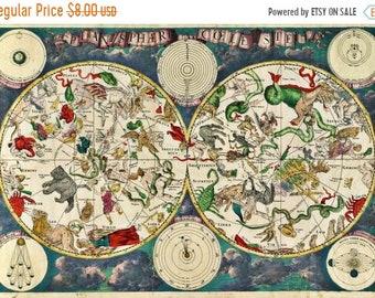 Celestial map Cross Stitch Pattern Pdf old map cross stitch de wit pattern - 496 x 339 stitches - Instant Download - B667