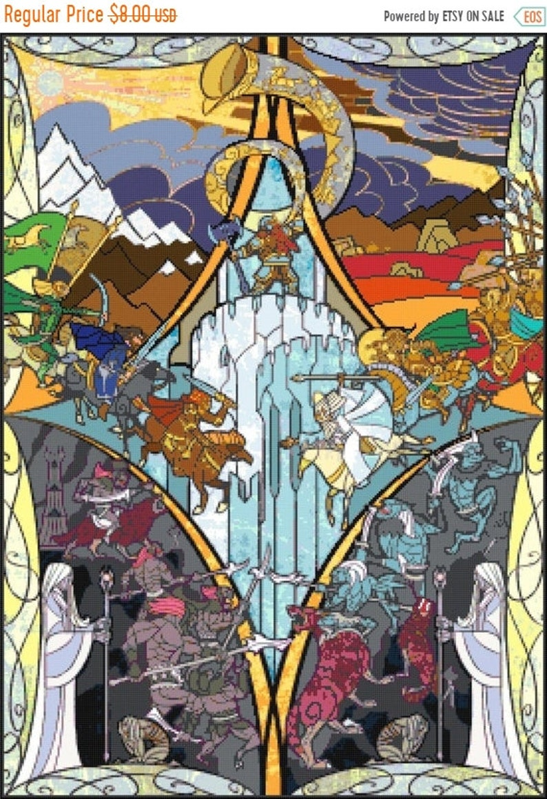 B1102 lotr pattern lord of rings pattern stained glass rings Cross Stitch rings Instant Download 276 x 386 stitches