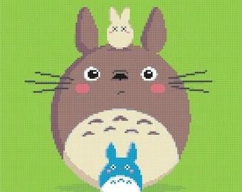 totoro Cross Stitch totoro pattern miyazaki cross stitch miyazaki pattern korss -138 x 148 stitches- INSTANT Download - B988