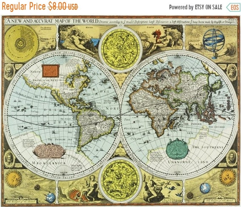 A New And Accvrat Map Of The World 1626.Old World Map Cross Stitch Pattern Pdf 1626 Map Pattern Kraiz Etsy