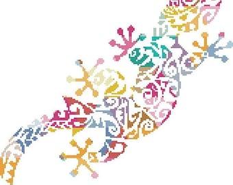 gecko cross Stitch pattern lizard pattern format needlepoint, nedlepoint - 161 x 159 stitches - INSTANT Download - B1440