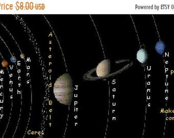 Solar system Cross Stitch Pattern Pdf Solar system pattern needlepoint Korss - 329 x 173 stitches - INSTANT Download - B1575