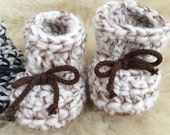 Cosy Baby Moccasin Crochet Booties Drawstring Bag Made to Order Custom Leather Sole