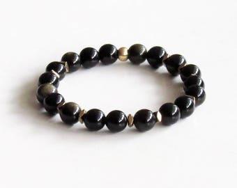 Obsidian Bracelet ~ Golden Obsidian Ombre Bracelet Protection and Grounding Boho Bracelet Hematite Bracelet Yoga Bracelet Mala Bracelet Gift