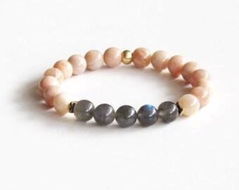 Labradorite and Sunstone Bracelet Energy Bracelet Yoga Bracelet Meditation Bracelet Boho Bracelet Gift