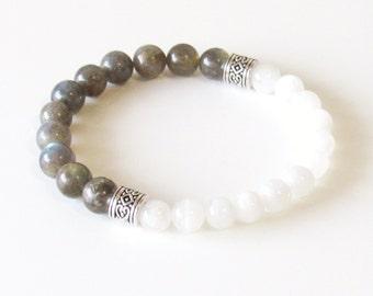 Labradorite Bracelet Moonstone Bracelet Mala Bracelet Moonstone Mala Labradorite Mala Meditation Bracelet Yoga Bracelet Gift