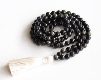 Obsidian Mala Authentic 108 Buddhist Meditation Necklace Ombre Mala Golden Obsidian Mala Necklace Yoga Necklace Prayer Beads Gift