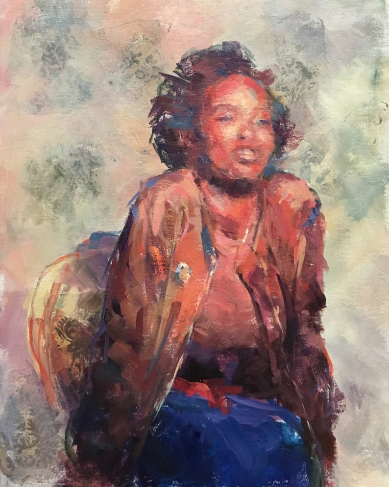Portrait of Teenage Girl  / Painting of a young African image 0