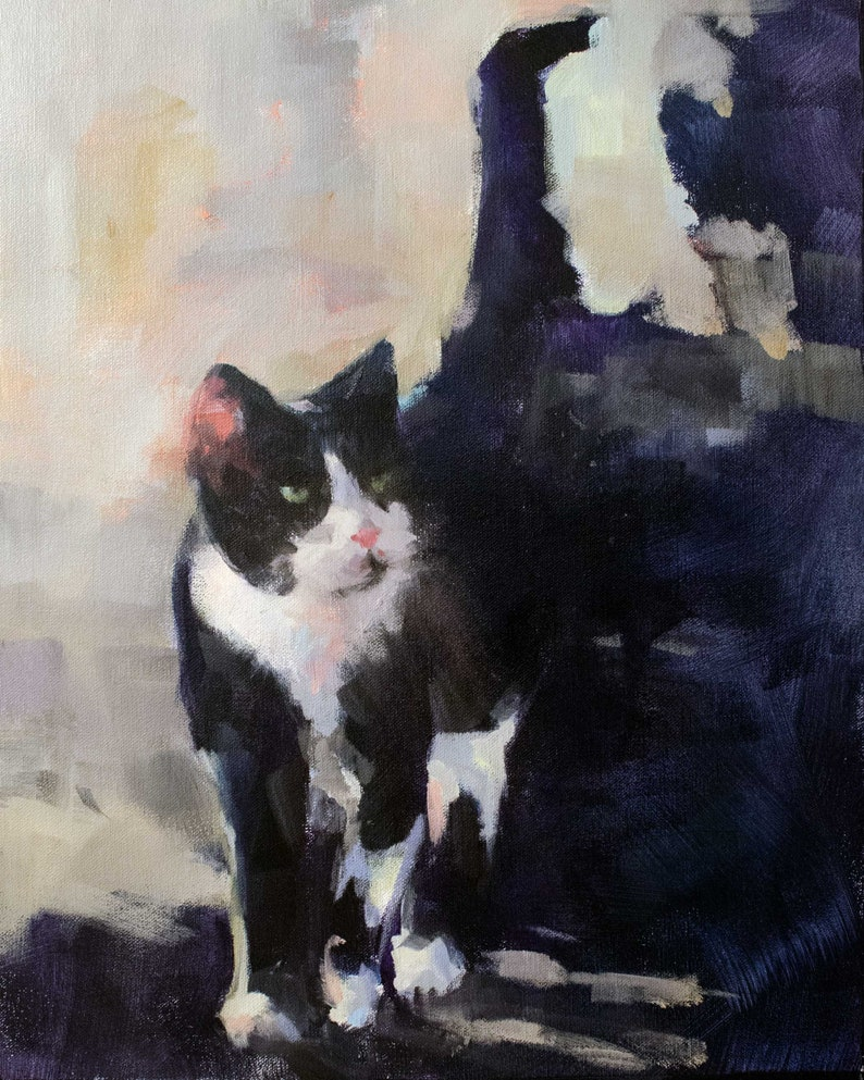 Painting of a Black and White Cat image 0