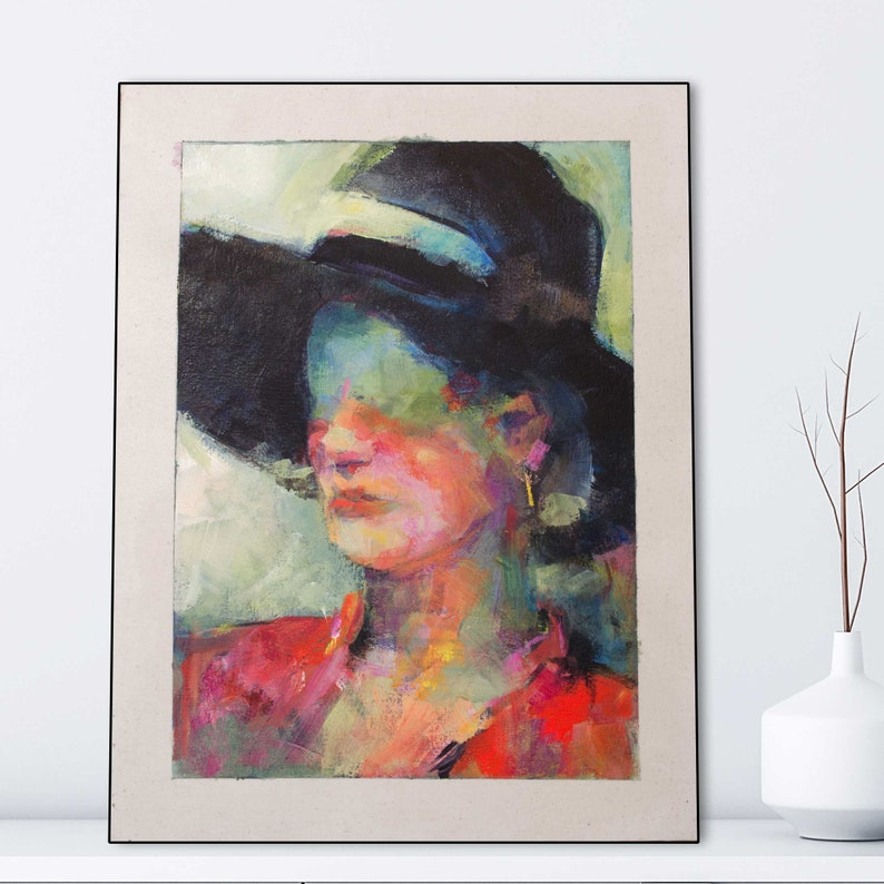 Original Portrait of Woman with a Black Hat//Abstract Figure image 1