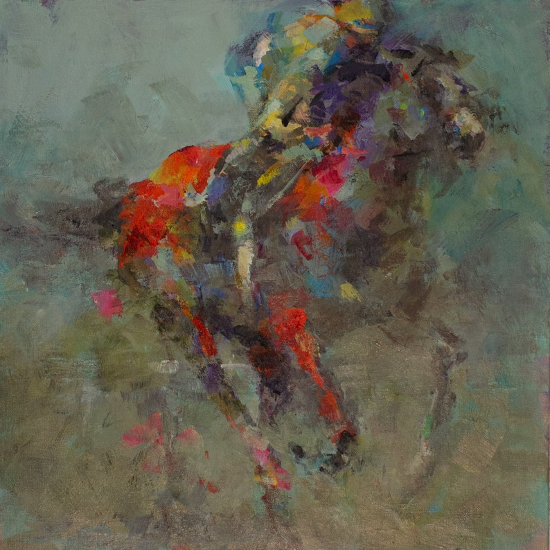 Abstract Painting of a Horse and Jockey Racing unframed