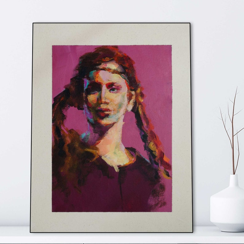 Portrait of Swedish Girl with Braids in Pink image 1