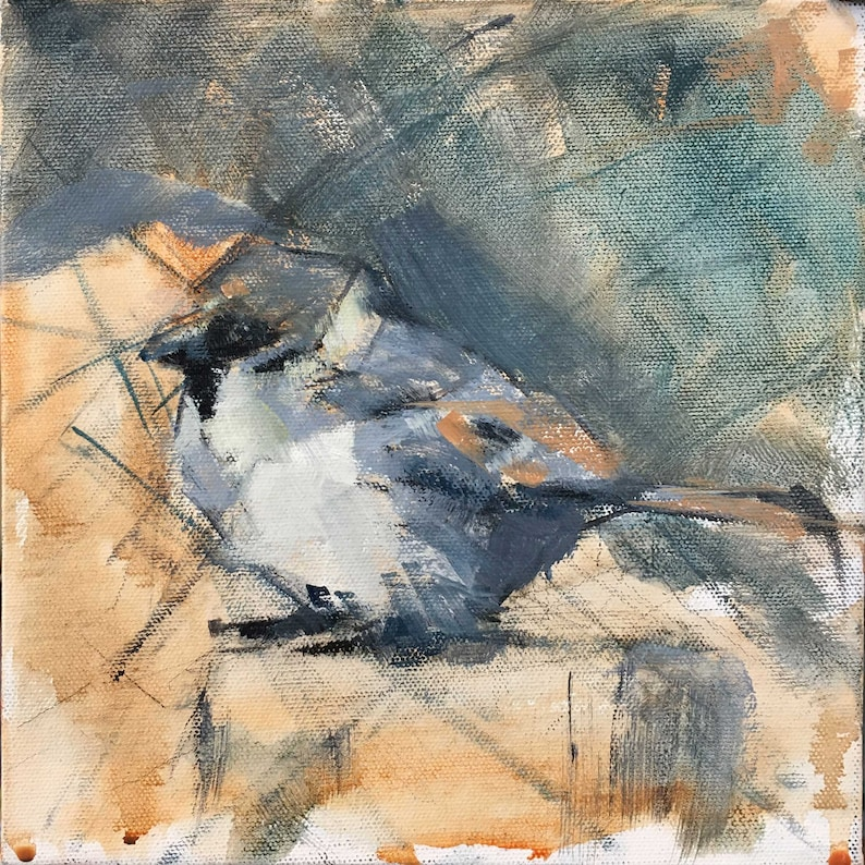 """Abstracted Painting of a Tiny Sparrow 1/8"""" ready to frame"""