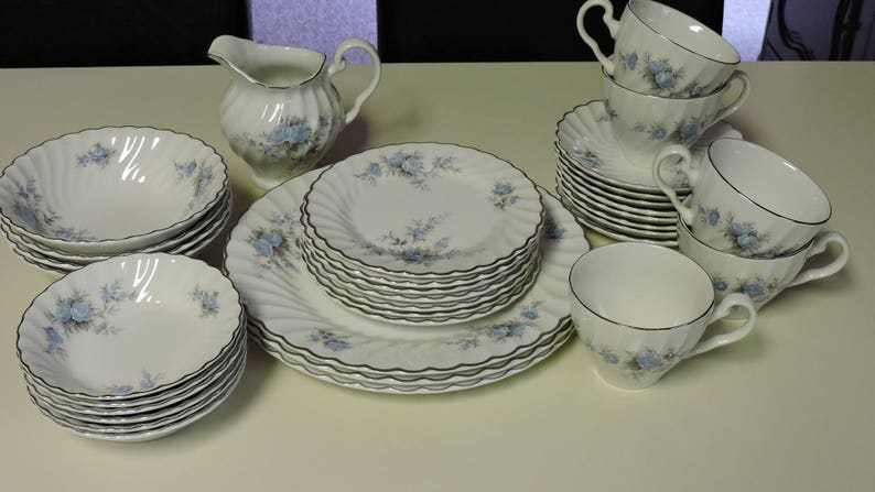 Blue Roses on White Swirl with Platinum edge Plates Cream pitcher 34 pieces of Johnson Brothers Ironstone Dinnerware