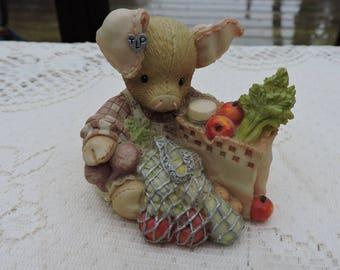 This Little Piggy Went To Market Pig Figurine 1994 Enesco