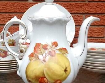 Winterling Roslau Tall Coffee Pot Fruit Nuts Gold Bavaria Germany