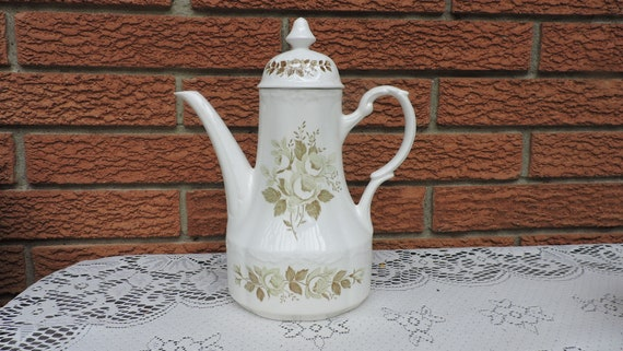 Vintage J/&G Meakin COLONIAL GARDEN Ironstone Tall Coffee Pot Green Roses