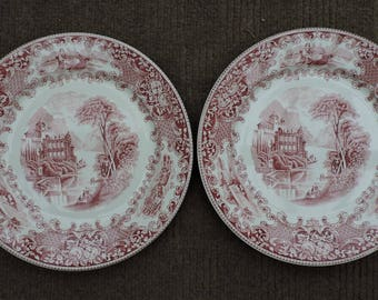 2 Royal Sphinx Petrus Regout Red Dinner Plates Cambridge OLD England