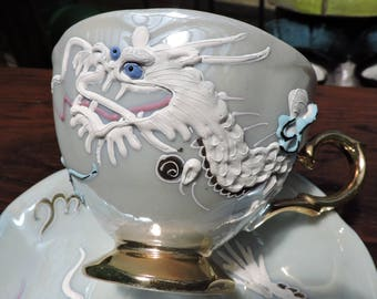 Vintage Shafford Handpainted DRAGON Cup & Saucer Set Moriage Japan Dragonware