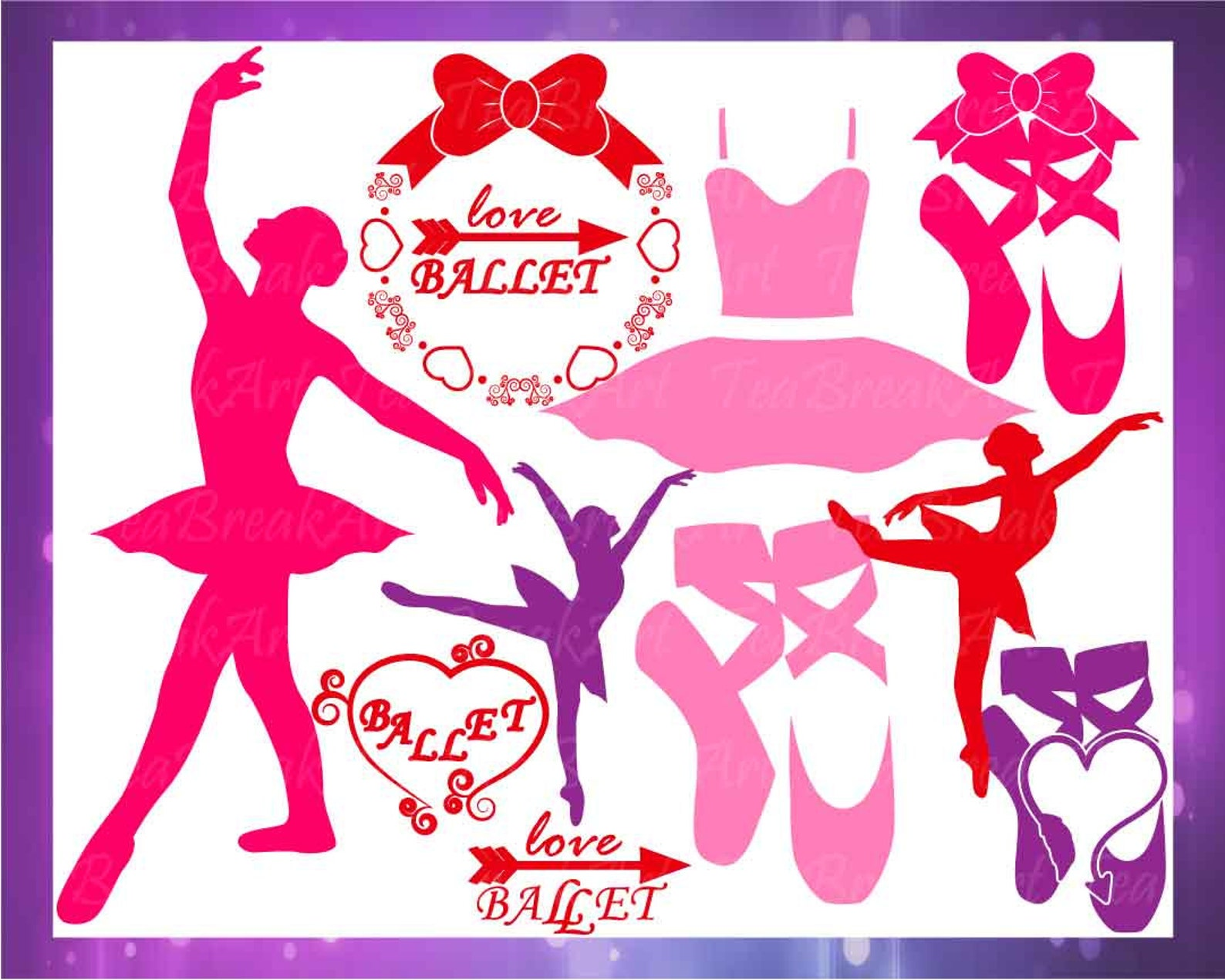 ballet monogram set clipart cutting files svg jpg eps vinyl papercut paper cut heat transfer digital graphics template cuttable