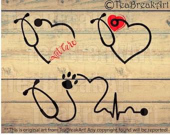 Vet Care Heart Stethoscope Monogram Digital Cutting files Clipart png svg dxf jpg Digital Design for vinyl iron on heat transfer decal  401C