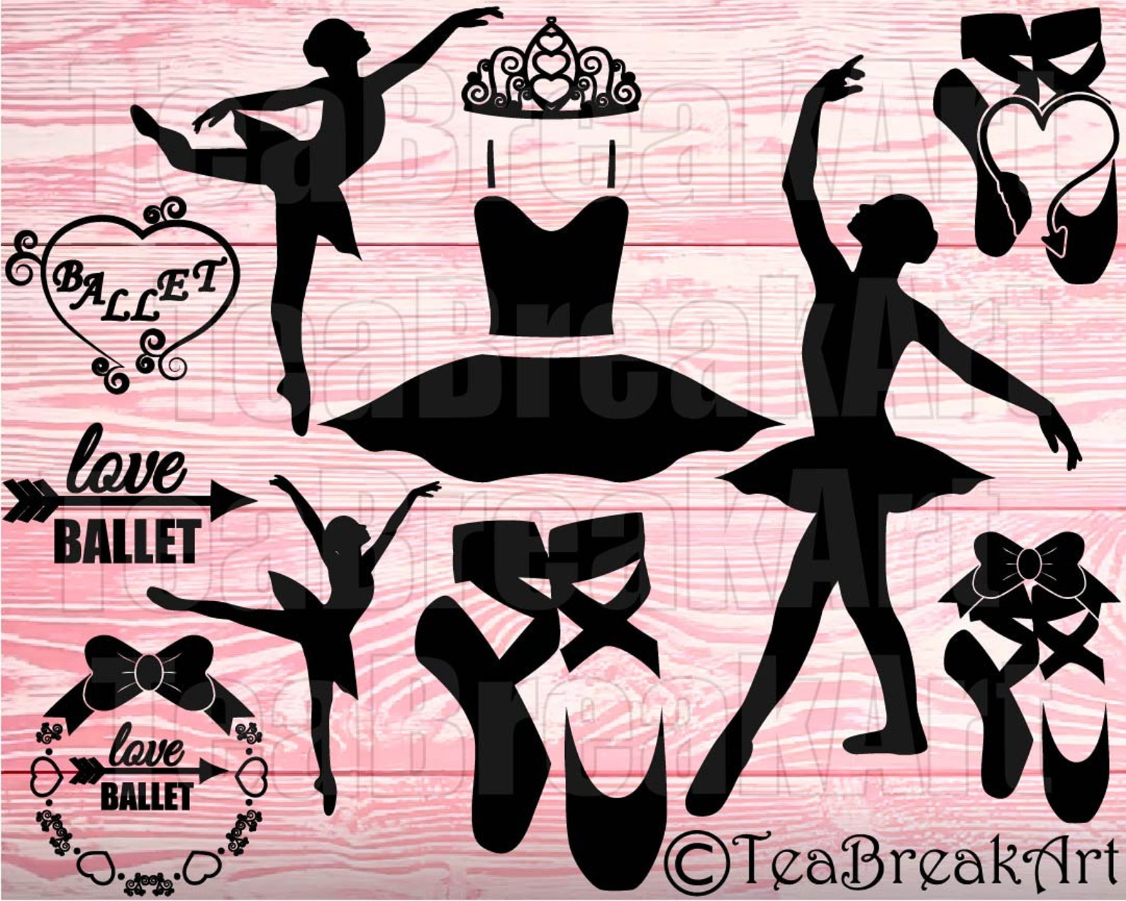 ballet monogram clipart set cutting files svg jpg dxf png papercut paper cut heat transfer digital graphics template cuttable te