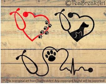 Vet Care Heart Stethoscope Monogram Digital Cutting files Clipart png svg dxf jpg Digital Design for vinyl iron on heat transfer decal  564C