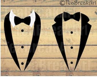 Tuxedo Cutting Files SVG PNG jpg dxf Instant Download gentleman iron on heat transfer retro vintage wedding props 886C