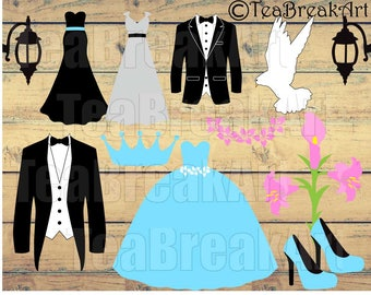 Bride and Groom Cutting Files SVG PNG EPS Instant Download gentleman love iron on heat transfer tux vintage wedding props dress suit 508C