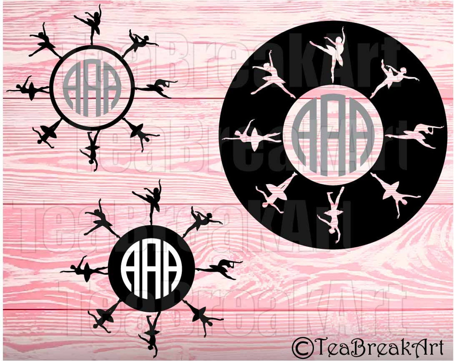 ballet circle frame cutting files svg jpg dxf png clipart heat transfer digital graphic decal design iron on ballerina monogram