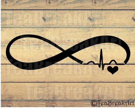Infinity Heart Ecg Cutting Files Svg Png Dxf Jpg Clipart For Etsy
