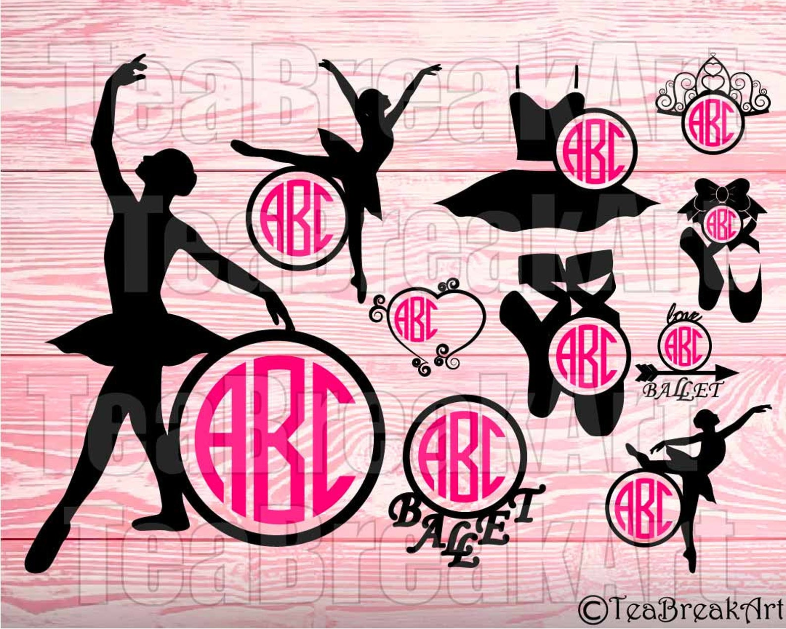 circle ballet monogram frame cutting files svg jpg eps dxf papercut heat transfer digital design graphic iron on vinyl decal t-s