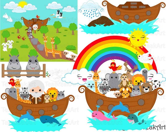 Noah's Ark whole Set Clipart Digital Graphics for Personal ...