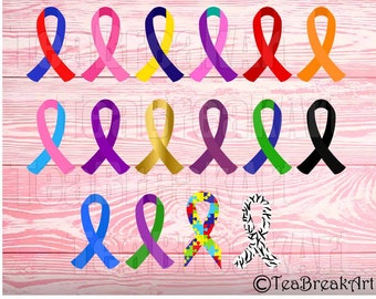 Multi color Ribbon Awareness Cancer Cutting Files SVG PNG EPS dxf ClipArt iron on heat transfer shirt decal vinyl multicolor set 779C