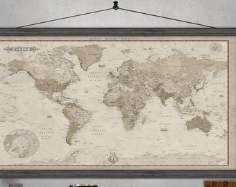 Large World Map |  Push Pin Map  |  Printed on Canvas | Detailed World Map | Vintage Look with Modern Details. Poseidon
