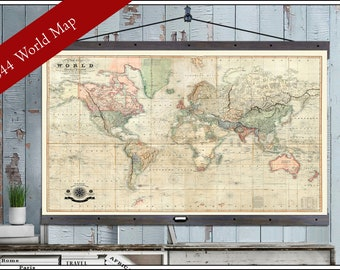 Large world map | Etsy